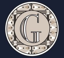 1920s Pink Champagne Gatsby Monogram letter G Kids Clothes