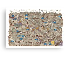 Illustrated map of Berlin-Mitte. Sepia  Canvas Print