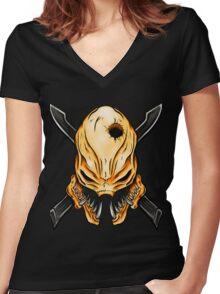 Elite Skull - Halo Legendary Orange Women's Fitted V-Neck T-Shirt