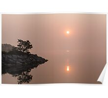Satiny Pinks and Rough Grays - Soft Fog Sunrise on the Lake Poster