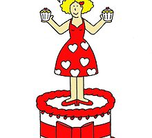 Happy Valentine's Day lady in red standing on a cake. by KateTaylor