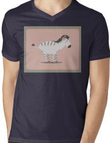 zebra posing Mens V-Neck T-Shirt