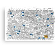 Illustrated map of Berlin-Mitte. Black & White Canvas Print