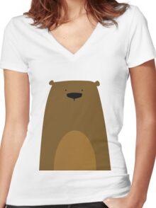Stumped Bear Women's Fitted V-Neck T-Shirt