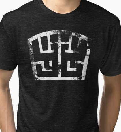 SOLDIER symbol white grunge Tri-blend T-Shirt
