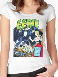 Eerie Vampire Comic Cover Women's Fitted Scoop T-Shirt