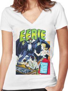 Eerie Vampire Comic Cover Women's Fitted V-Neck T-Shirt