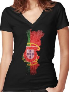 Portugal Flag Map Women's Fitted V-Neck T-Shirt