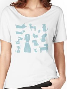 dogs - pale blue Women's Relaxed Fit T-Shirt