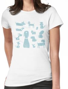 dogs - pale blue Womens Fitted T-Shirt