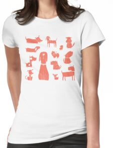 dogs - coral Womens Fitted T-Shirt