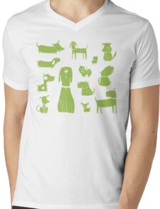 dogs - green Mens V-Neck T-Shirt