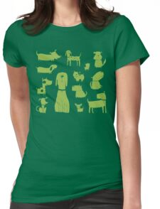 dogs - green Womens Fitted T-Shirt