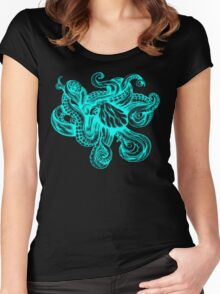 Neon Octopus Women's Fitted Scoop T-Shirt