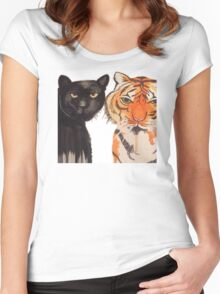 Yellow Peril Supports Black Power (Animals) Women's Fitted Scoop T-Shirt