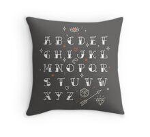 Homemade tattoos alphabet Throw Pillow