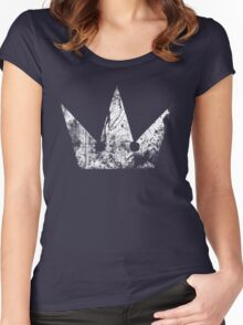 Kingdom Hearts Crown grunge Women's Fitted Scoop T-Shirt