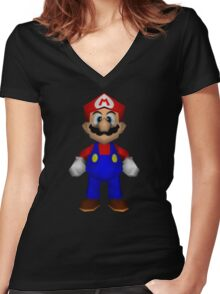 Mario sprite Women's Fitted V-Neck T-Shirt