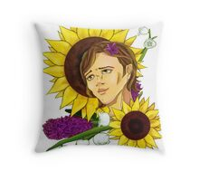 SPN Sam Winchester + Flowers Throw Pillow