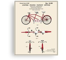 Tandem Bicycle Patent - Colour Canvas Print