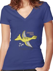 Dinosaurs, Jurassic Park. Adorable seamless pattern with funny dinosaurs in cartoon Women's Fitted V-Neck T-Shirt