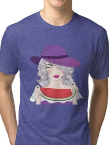Beautiful young woman in had and watermelon Tri-blend T-Shirt
