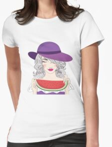 Beautiful young woman in had and watermelon Womens Fitted T-Shirt