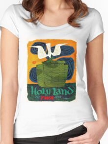 """""""TWA AIRLINES"""" Fly to The Holy Land Advertising Print Women's Fitted Scoop T-Shirt"""