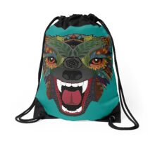 wolf fight flight teal Drawstring Bag