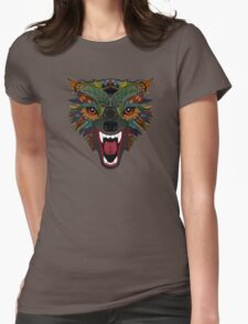 wolf fight flight silver Womens Fitted T-Shirt
