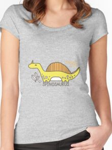 Dinosaurs, Jurassic Park. Adorable seamless pattern with funny dinosaurs in cartoon Women's Fitted Scoop T-Shirt