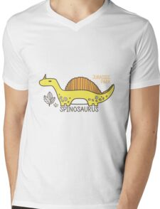 Dinosaurs, Jurassic Park. Adorable seamless pattern with funny dinosaurs in cartoon Mens V-Neck T-Shirt