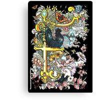 """The Illustrated Alphabet Capital  F  """"Getting personal"""" from THE ILLUSTRATED MAN Canvas Print"""