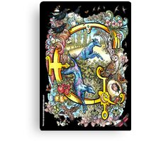 """The Illustrated Alphabet Capital  G  """"Getting personal"""" from THE ILLUSTRATED MAN Canvas Print"""