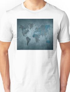 World map blue Unisex T-Shirt