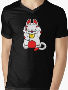 LUCKEE White and Red litter Mens V-Neck T-Shirt