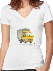 Cartoon delivery / cargo truck Women's Fitted V-Neck T-Shirt