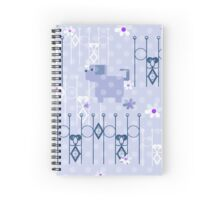 Seamless kids pattern texture with dogs puppy and geometric elements on blue background Spiral Notebook