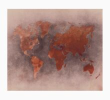 World map brown One Piece - Short Sleeve