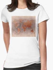 World map brown Womens Fitted T-Shirt