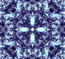 """Spirit of India: Dark Frozen Fleur"" in blue-violet and cyan by FireFairy"