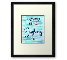 Saltwater Heals Everything Wave Symbol Framed Print
