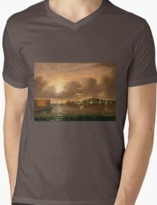 Thomas Chambers - Threatening Sky, Bay Of New York. Sea landscape: sea view,  yachts,  holiday, sailing boat, coast seaside, waves and beach, marine, seascape, sun clouds, nautical, ocean Mens V-Neck T-Shirt