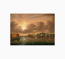 Thomas Chambers - Threatening Sky, Bay Of New York. Sea landscape: sea view,  yachts,  holiday, sailing boat, coast seaside, waves and beach, marine, seascape, sun clouds, nautical, ocean Unisex T-Shirt