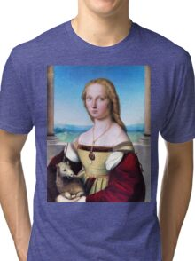 Highest Quality Portrait of Young Woman with Unicorn by Raphael Sanzio Restored by LarcenIII Tri-blend T-Shirt
