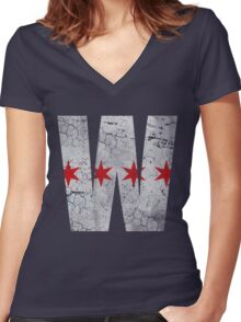 W Chicago Baseball Winning Flag Women's Fitted V-Neck T-Shirt
