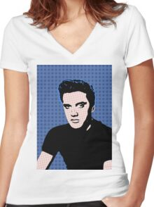 Rock God Elvis Women's Fitted V-Neck T-Shirt