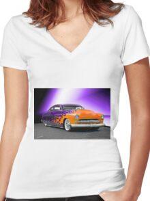 1950 Mercury 'Hot Wheels' Custom Coupe Women's Fitted V-Neck T-Shirt