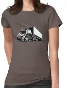 Cartoon cargo semi-truck Womens Fitted T-Shirt