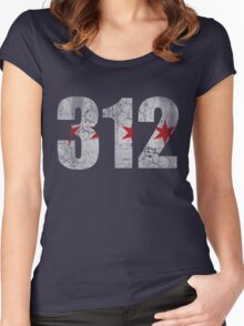 Vintage Chicago Flag 312  Women's Fitted Scoop T-Shirt